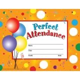"Perfect Attendance Certificates & Reward Seals - 30 8.5"" x 11"" Certificates, 160 Seals"