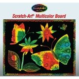 Multicolor Scratch-Art Paper, 12 sheets, stick included