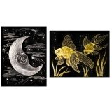 Gold & Silver Scratch-Art Foil Drawing Paper, 10 Sheets & Stylus