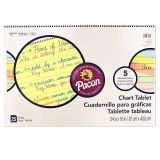 Pacon Colored Paper Chart Tablet, Cursive Cover, 5 Assorted Colors