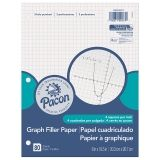 "Pacon Graphing Paper, White, 3-Hole Punched, 8"" x 10-1/2"", 80 Sheets"