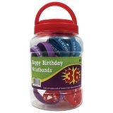 HAPPY BIRTHDAY WRISTBANDS JAR 36CT