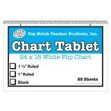 WHITE CHART TABLET 16X24 1.5IN  RULED 25 SHT