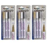 Calligraphy Paint Markers, Black, Gold & White, 3 Sets