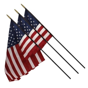 "U.S.Classroom Flag, 16"" x 24"" with Staff, Pack of 3"
