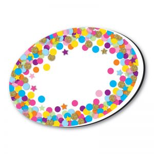 Magnetic Whiteboard Eraser, Oval Confetti, Pack of 6