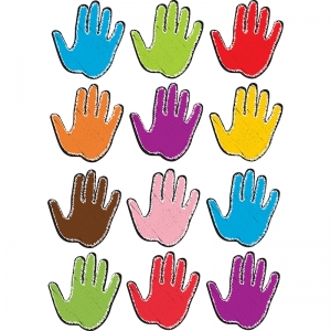 Die-Cut Magnetic Colorful Scribble Handprints, 12 Pieces
