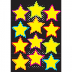 Die-Cut Magnetic Yellow Stars, 12 Pieces