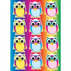 DieCut Magnetic Colorful Owls, 12 Pieces