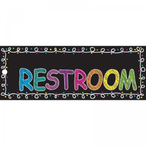 "Chalk Restroom Laminated 2-Sided Pass, 9"" x 3.5"""