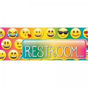 "Emoji Restroom Laminated 2-Sided Pass, 9"" x 3.5"""