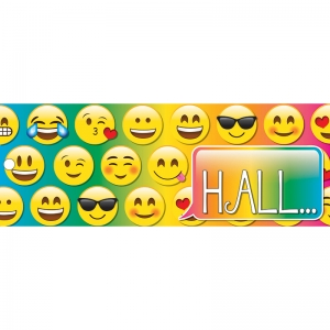 "Emoji Hall Laminated 2-Sided Pass, 9"" x 3.5"""