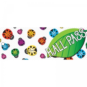 "Ladybug Hall Laminated 2-Sided Pass, 9"" x 3.5"""