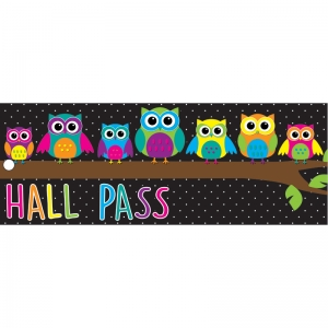 "Owls Hall Laminated 2-Sided Pass, 9"" x 3.5"""