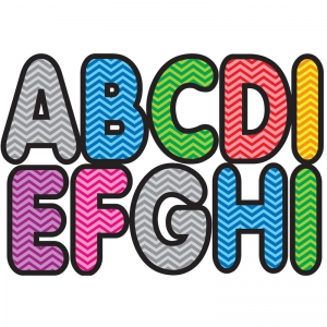 ASSORTED COLOR CHEVRON 2-3/4IN  DESIGNER MAGNETIC LETTERS