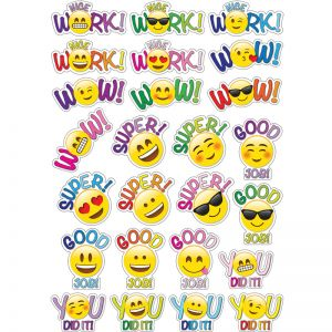 Magnetic Die-Cut Positive Emojis, 25 Pieces Per Pack, 6 Packs