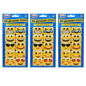 NonMagnetic Mini Whiteboard Erasers, Emojis, Pack of 30
