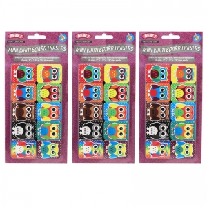 NonMagnetic Mini Whiteboard Erasers, Color Owls, Pack of 30