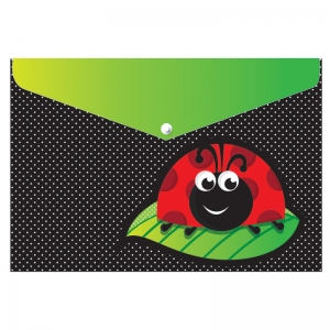 DECORATED POLY FOLDER LADYBUG