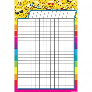 "Smart Poly Emoji Incentive Chart, DryErase Surface, 13"" x 19"""