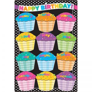"Smart Poly Chart, 13"" x 19"", B&W Polka Dots Happy Birthday, w/Grommet"