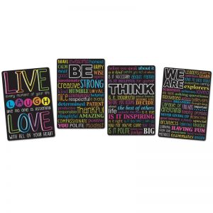"Smart Poly Motivational Classroom Charts, 13"" x 19"", 4 Per Set, 4 Sets"