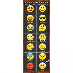 "Smart Poly Clip Chart w/Grommet, 9"" x 24"", Emoji Feelings"