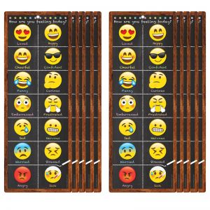 "Smart Poly Clip Chart w/Grommet, 9"" x 24"", Emoji Feelings, Pack of 10"
