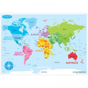 "Smart Poly Learning Mat, 12"" x 17"", Double-Sided, World Basic Map"