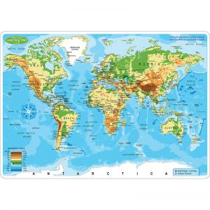 "Smart Poly Learning Mat, 12"" x 17"", Double-Sided, World Physical Map"