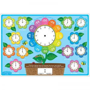 "Smart Poly Learning Mat, 12"" x 17"", Double-Sided, Telling Time"