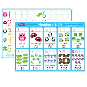 "Smart Poly Learning Mat, 12"" x 17"", Double-Sided, Numbers 1-10"