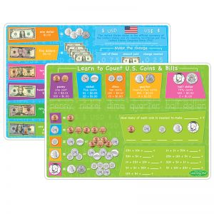 "Smart Poly Learning Mat, 12"" x 17"", DoubleSided, U.S.Currency"