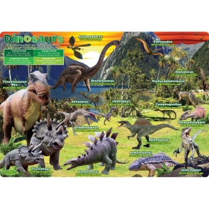 "Smart Poly Single Sided PosterMat Pals, Dinosaurs, 12"" x 17.25"""