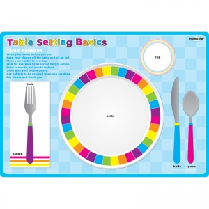 "Smart Poly Single Sided PosterMat Pals, Place Setting Table Basic, 12"" x 17.25"""