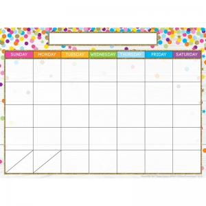 "Smart Poly Single Sided PosterMat Pals Space Savers, Calendar Confetti Style, 13"" x 9.5"""