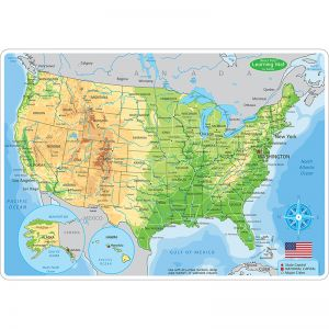 "Smart Poly Learning Mats, 12"" x 17"", Double-Sided, U.S. Physical Map, Pack of 10"