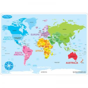 "Smart Poly Learning Mats, 12"" x 17"", Double-Sided, World Basic Map, Pack of 10"