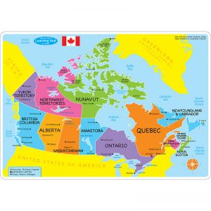 "Smart Poly Learning Mats, 12"" x 17"", Double-Sided, Canada Basic Map, Pack of 10"