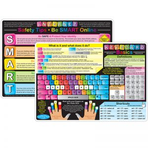 "Smart Poly Learning Mats, 12"" x 17"", DoubleSided, Keyboard Basics & Internet Safety, Pack of 10"