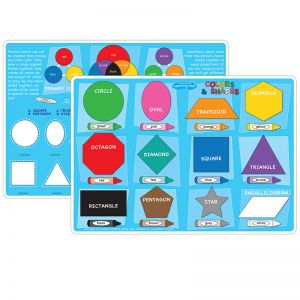 "Smart Poly Learning Mats, 12"" x 17"", Double-Sided, Colors & Shapes, Pack of 10"