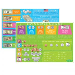 "Smart Poly Learning Mats, 12"" x 17"", DoubleSided, U.S.Currency, Pack of 10"