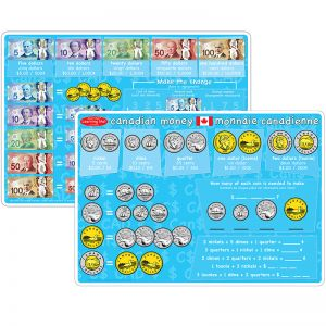 "Smart Poly Learning Mats, 12"" x 17"", DoubleSided, Canadian Currency, Pack of 10"