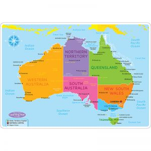"Smart Poly Learning Mats, 12"" x 17"", Double-Sided, Australian Map Basic, Pack of 10"