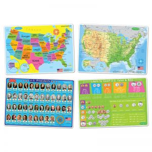 "Smart Poly Learning Mats, 12"" x 17"", Double-Sided, U.S. Education, Set of 4"