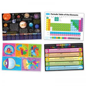 "Smart Poly Learning Mats, 12"" x 17"", Double-Sided, STEM Education, Set of 4"