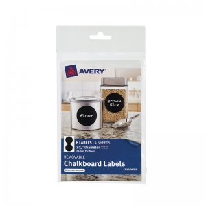 "Removable Chalkboard Labels, Round, 2 3/4"", Pack of 8"