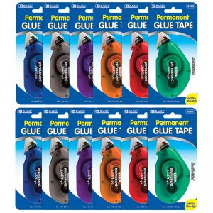 BAZIC Permanent Glue Tape, 8mm x 8m, Pack of 12