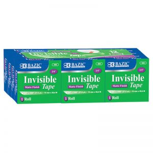 "BAZIC Tape Refill, Invisible Tape, 3/4"" x 1000"", 12 Rolls Per Pack, 2 Packs"