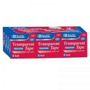"BAZIC Tape Refill, Transparent Tape, 3/4"" x 1296"", 12 Rolls Per Pack, 2 Packs"